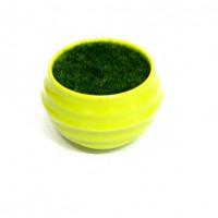 27087 Горшочек зелёный с иск.травой,  ( пластик, иск.материал)