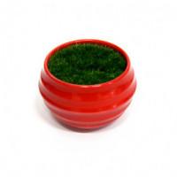 27086 Горшочек красный с иск.травой, ( пластик, иск.материал)