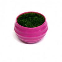 27083 Горшочек малиновый с иск.травой, ( пластик, иск.материал)