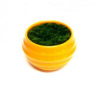 27084 Горшочек оранжевый с иск.травой,  ( пластик, иск.материал)