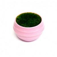 27088 Горшочек розовый с иск.травой,  ( пластик, иск.материал)