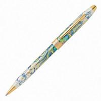 """CROSS AT0642-4 Ручка подарочная шариковая CROSS Botanica """"Зеленая лилия"""", лак, латунь, позолота, черная, AT0642-4"""