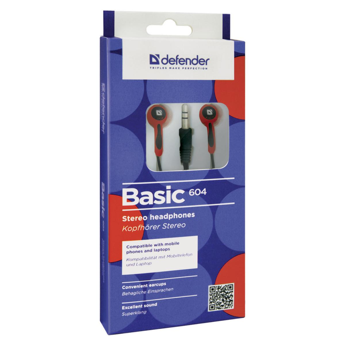 Наушники DEFENDER Basic 604, проводные, 1,2 м, вкладыши, черные с красным, 63605 (арт. 63605)