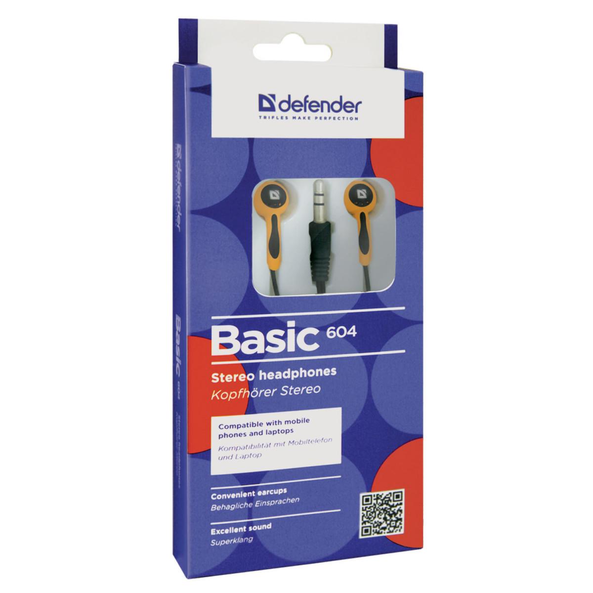 Наушники DEFENDER Basic 604, проводные, 1,2 м, вкладыши, черные с оранжевым, 63606 (арт. 63606)