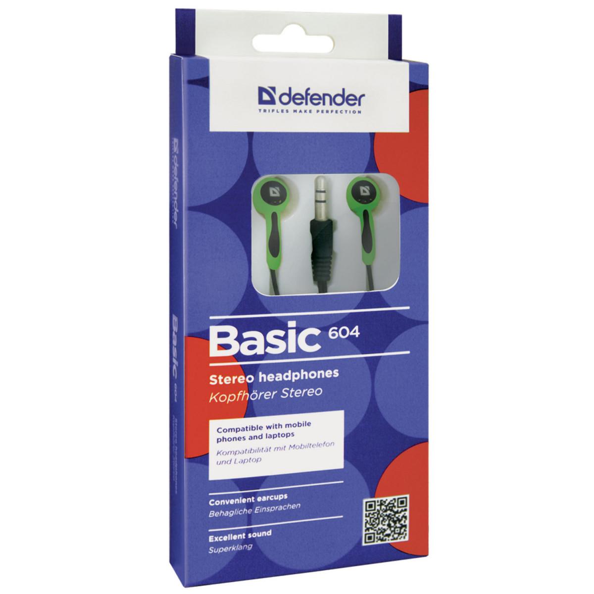 Наушники DEFENDER Basic 604, проводные, 1,2 м, вкладыши, черные с зеленым, 63607 (арт. 63607)