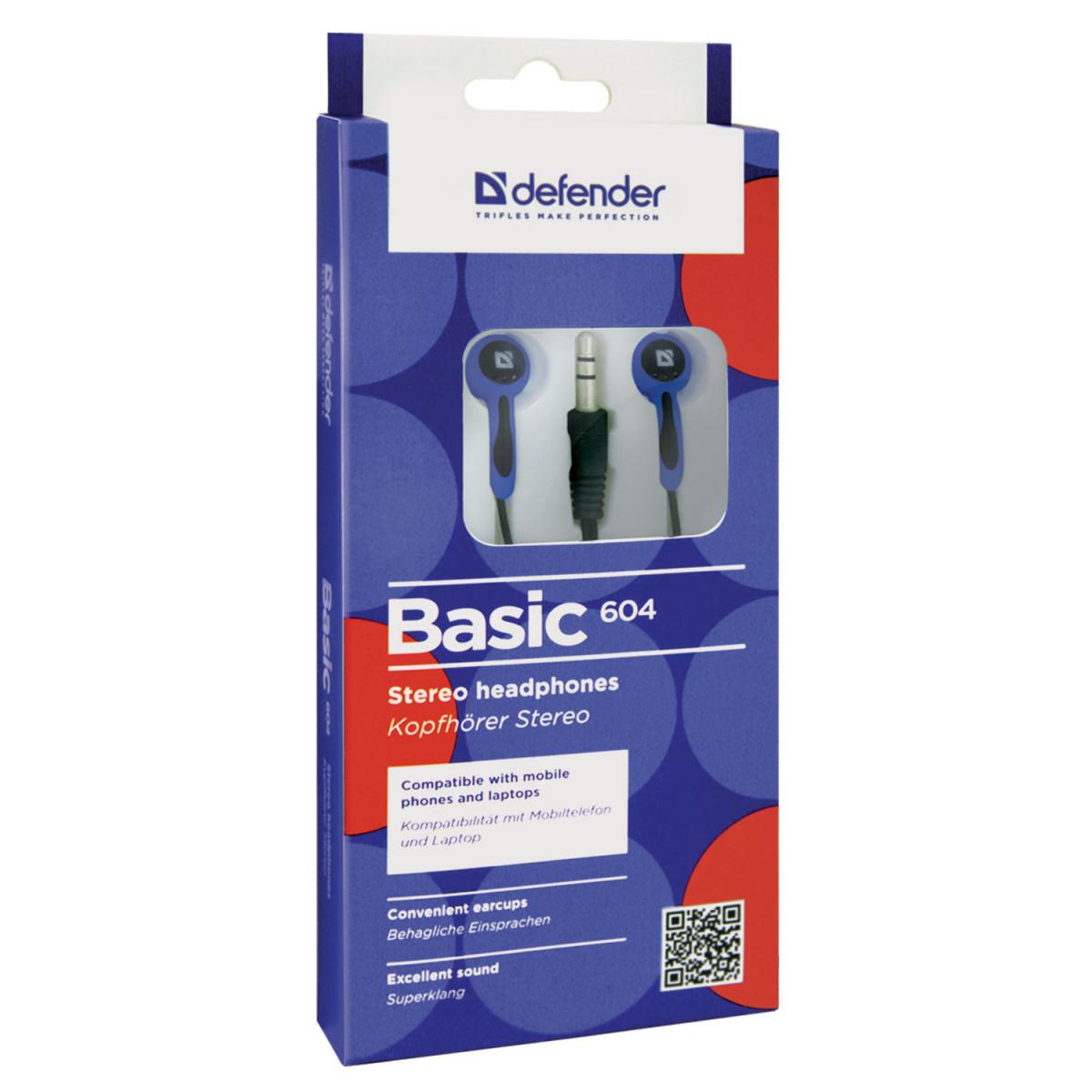 Наушники DEFENDER Basic 604, проводные, 1,2 м, вкладыши, черные с голубым, 63608 (арт. 63608)