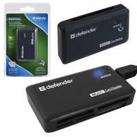 DEFENDER 83501 Картридер DEFENDER OPTIMUS USB 2.0, порты SD/MMC, TF, M2, MC, CF, XD, 83501