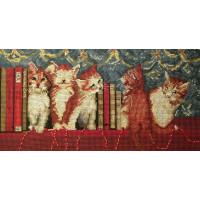 Прочие 732 BK732 Набор для вышивания DMC Котята в книгах 30х16 см