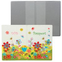 """ДПС 2203.Т5 Обложка для паспорта """"Цветы"""", кожзам, полноцветный рисунок, ДПС, 2203.Т5"""