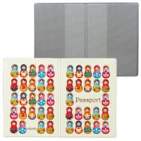 """ДПС 2203.Т8 Обложка для паспорта """"Матрешки"""", кожзам, полноцветный рисунок, ДПС, 2203.Т8"""