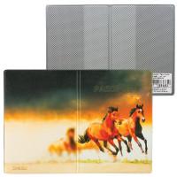 """ДПС 2203.Т9 Обложка для паспорта """"Лошади"""", кожзам, полноцветный рисунок, ДПС, 2203.Т9"""