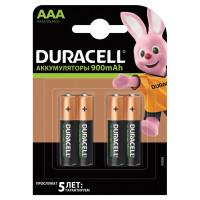 DURACELL 81546826 Батарейки аккумуляторные DURACELL, AAA (HR03), Ni-Mh, 900 mAh, КОМПЛЕКТ 4 шт., в блистере, 81546826