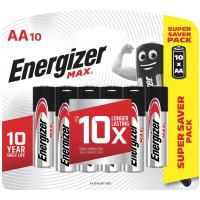 ENERGIZER E301534601 Батарейки КОМПЛЕКТ 10 шт., ENERGIZER Max, AA (LR06, 15А), алкалиновые, пальчиковые, блистер, E301534601