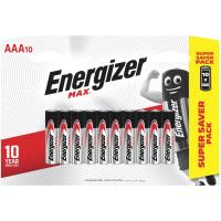 ENERGIZER E301534701 Батарейки КОМПЛЕКТ 10 шт., ENERGIZER Max, AAA (LR03, 24А), алкалиновые, мизинчиковые, блистер, E301534701