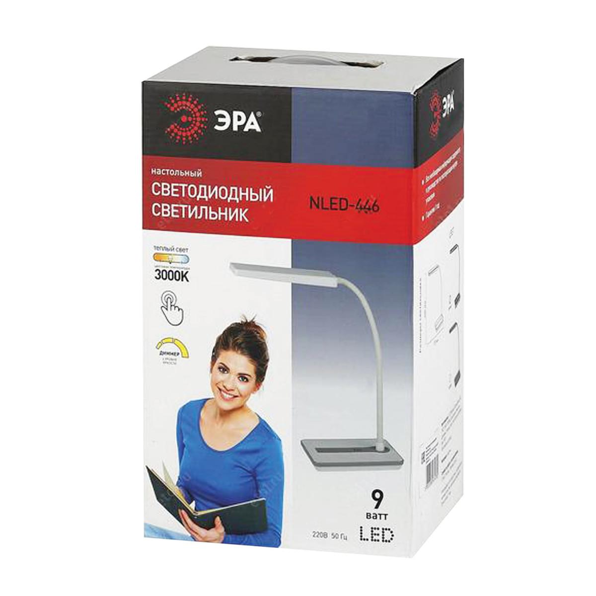 Светильник настольный ЭРА NLED-446, на подставке, светодиодный, сенсорное управление, 9 Вт, черный, NLED-446-9W-BK (арт. NLED-446-9W-BK)