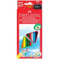FABER-CASTELL 120523 Карандаши цветные FABER-CASTELL, 12 цветов, трехгранные, с точилкой, упаковка с подвесом, 120523