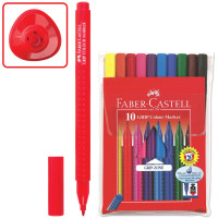"""FABER-CASTELL 155310 Фломастеры FABER-CASTELL """"Grip"""", 10 цветов, трехгранные, смываемые, ПВХ упаковка, 155310"""