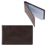 "FABULA V.1.MN Визитница карманная FABULA ""Estet"" на 40 визитных карт, натуральная кожа, темно-коричневая, V.1.MN"