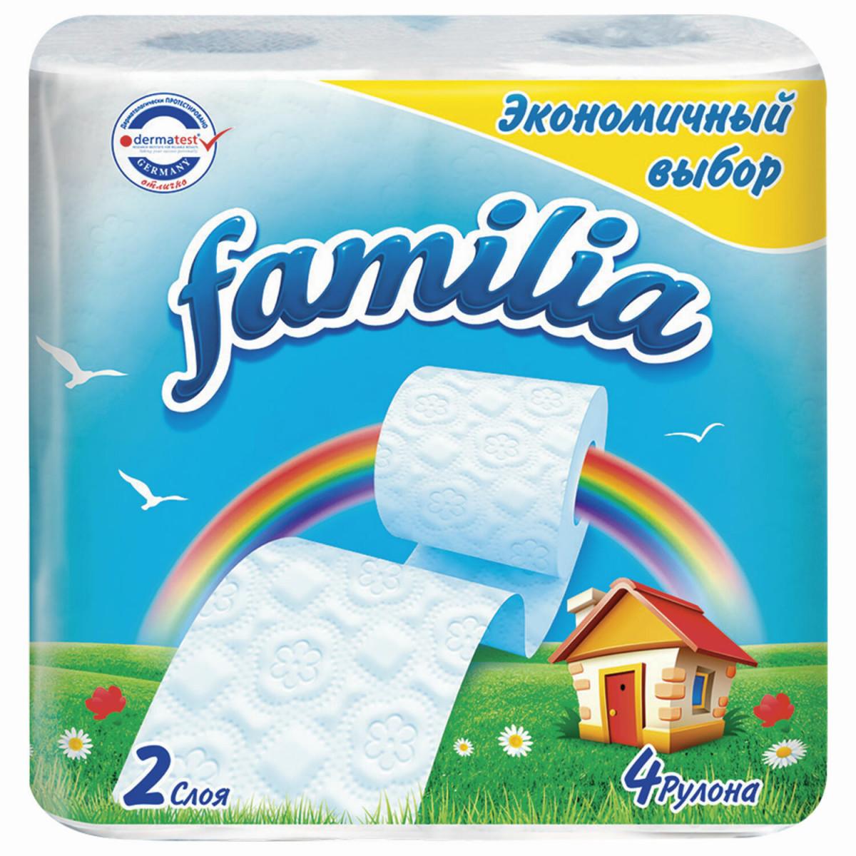 Бумага туалетная бытовая, спайка 4 шт., 2-слойная (4х16,2 м), FAMILIA, белая, 5040086 (арт. 5040086)