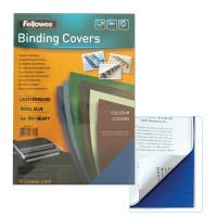 FELLOWES FS-53713 Обложки картонные для переплета А4, КОМПЛЕКТ 100 шт., тиснение под кожу, 250 г/м2, синие, FELLOWES, FS-53713