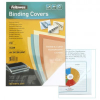 FELLOWES FS-53760 Обложки пластиковые для переплета А4, КОМПЛЕКТ 100 шт., 150 мкм, прозрачные, FELLOWES, FS-53760