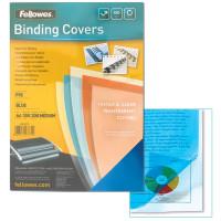 FELLOWES FS-53771 Обложки пластиковые для переплета А4, КОМПЛЕКТ 100 шт., 200 мкм, прозрачно-синие, FELLOWES, FS-53771