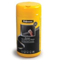 FELLOWES FS-99703 Чистящие салфетки FELLOWES, в тубе, 100 шт., влажные, для экранов мониторов и оптических поверхностей, FS-99703