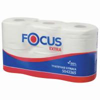 FOCUS 5042265 Бумага туалетная, спайка 6 шт., 2-слойная (6х48 м) Focus Extra, белая, 5042265