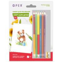 """ФРЕЯ RPSK-0014 """"ФРЕЯ"""" RPSK-0014 """"Медвежонок-садовод"""" Скетч для раскраш. цветными карандашами 21 х 14.8 см 1 л. ."""