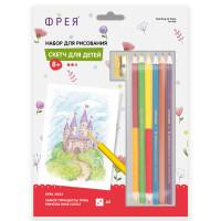 """ФРЕЯ RPSK-0053 """"ФРЕЯ"""" RPSK-0053 """"Замок принцессы Розы"""" Скетч для раскраш. цветными карандашами 20.5 х 14.5 см 1 л. ."""
