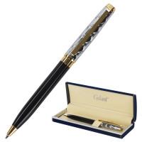 """GALANT 140963 Ручка подарочная шариковая GALANT """"Consul"""", корпус черный с серебристым, золотистые детали, пишущий узел 0,7 мм, синяя, 140963"""