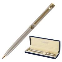 """GALANT 141009 Ручка подарочная шариковая GALANT """"Brigitte"""", тонкий корпус, серебристый, золотистые детали, пишущий узел 0,7 мм, синяя, 141009"""
