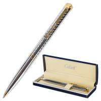 """GALANT 141011 Ручка подарочная шариковая GALANT """"Barendorf"""", корпус серебристый с гравировкой, золотистые детали, пишущий узел 0,7 мм, синяя, 141011"""