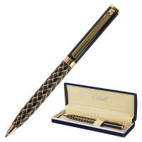 """GALANT 141357 Ручка подарочная шариковая GALANT """"Klondike"""", корпус черный с золотистым, золотистые детали, пишущий узел 0,7 мм, синяя, 141357"""