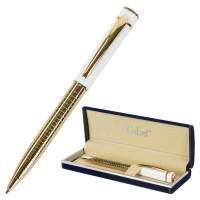 """GALANT 141661 Ручка подарочная шариковая GALANT """"Mont Pelerin"""", корпус золотистый с белым, золотистые детали, пишущий узел 0,7 мм, синяя, 141661"""