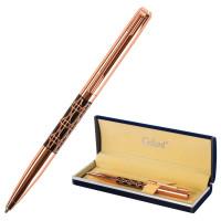 """GALANT 141663 Ручка подарочная шариковая GALANT """"Interlaken"""", корпус золотистый с черным, золотистые детали, пишущий узел 0,7 мм, синяя, 141663"""