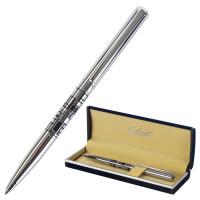 """GALANT 141665 Ручка подарочная шариковая GALANT """"Basel"""", корпус серебристый с черным, хромированные детали, пишущий узел 0,7 мм, синяя, 141665"""