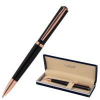 """GALANT 143514 Ручка подарочная шариковая GALANT """"PUNCTUM BLACK"""", корпус черный, детали розовое золото, узел 0,7 мм, синяя, 143514"""