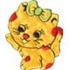 """Gamma  """"Gamma"""" Термоаппликации """"L"""" №21  L044-5 кошка с бантиком жёлтый 7.5х6.5 см"""