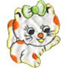 "Gamma  ""Gamma"" Термоаппликации ""L"" №21  L044-7 кошка с бантиком белая 7.5х6.5 см"
