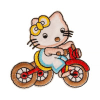 "Gamma  ""Gamma"" Термоаппликация ""L"" №02  L1266 кошка на велосипеде розовый 6.5х6 см"