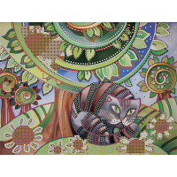 """Gamma  Канва/ткань с рисунком """"Gamma"""" Основа с рисунком для вышивания бисером 30 x 39 см OBB-0103 """"Кот и ромашки"""""""