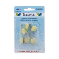 "Gamma BUKS-006 Булавки английские ""Gamma"" BUKS-006 с безопасн.замком 40 мм в блистере 6 шт 03 желтый"
