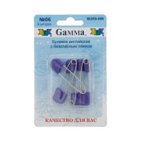 """Gamma BUKS-006 Булавки английские """"Gamma"""" BUKS-006 с безопасн.замком 40 мм в блистере 6 шт 06 фиолетовый"""