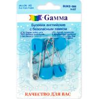 "Gamma BUKS-006 Булавки английские ""Gamma"" BUKS-006 с безопасн.замком 40 мм в блистере 6 шт 07 голубой"
