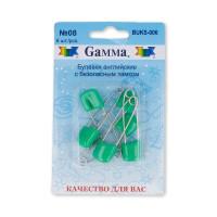 """Gamma BUKS-006 Булавки английские """"Gamma"""" BUKS-006 с безопасн.замком 40 мм в блистере 6 шт 08 зеленый"""