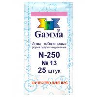 """Гамма N-250 Иглы ручные """"Gamma"""" N-250 гобеленовые №13, упак. - 25 шт, конверт"""