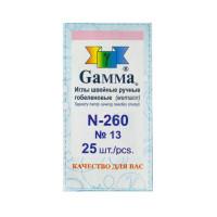 """Gamma N-260 Иглы для шитья ручные """"Gamma"""" N-260 гобеленовые №13 25 шт. в конверте острые"""