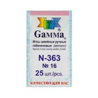 """Gamma N-363 Иглы для шитья ручные """"Gamma"""" N-363 гобеленовые №16 25 шт. в конверте острые"""