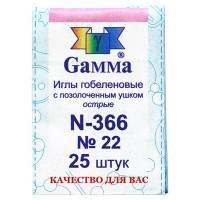 """Gamma N-366 Иглы для шитья ручные """"Gamma"""" N-366 гобеленовые №22 25 шт. в конверте острые"""